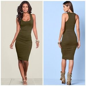 Venus xs army green ruched mini dress